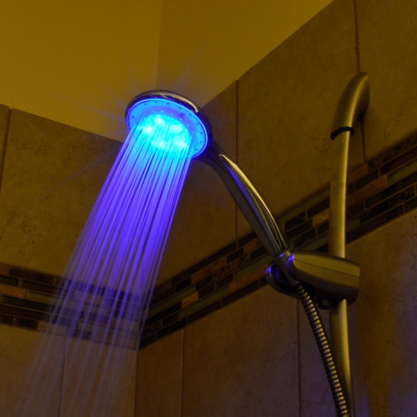 shower lighting. Handle LED Light Up Shower Head Lighting I