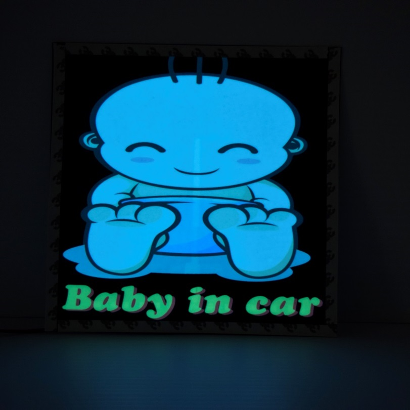light up glow baby in car decal