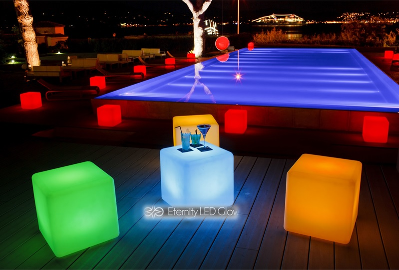 led cube seat swimming pool