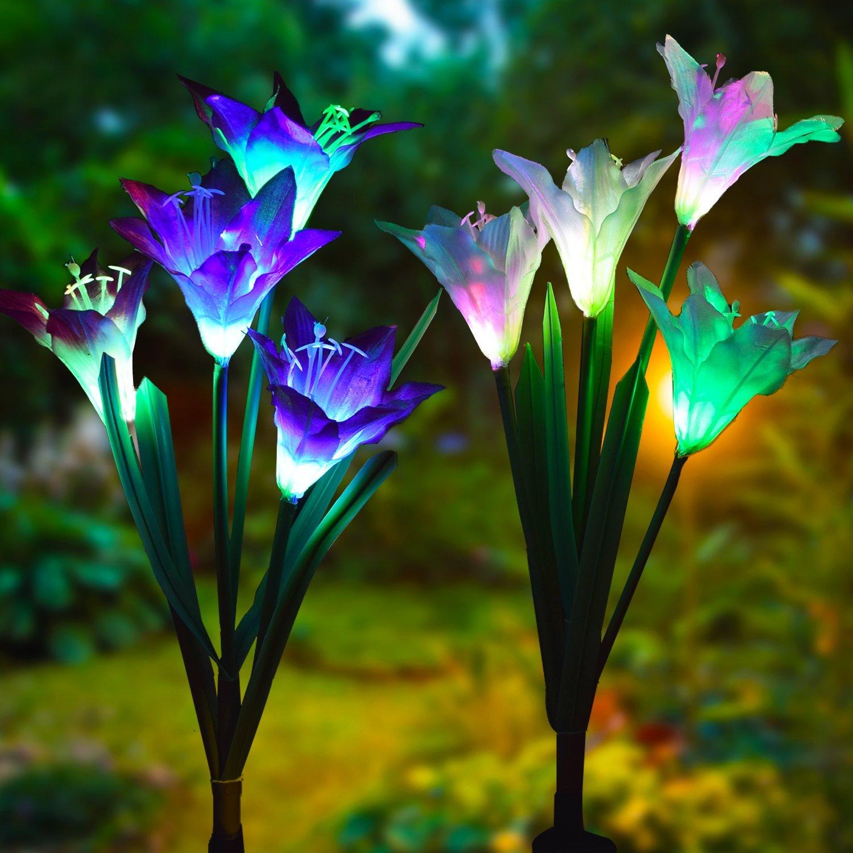 Led Light Up Garden Flowers Solar Powered Garden Flower